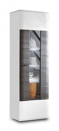 Zlevněné obývací pokoje Vitrína Denver bílá arctic LDTD / černá - II. jakost