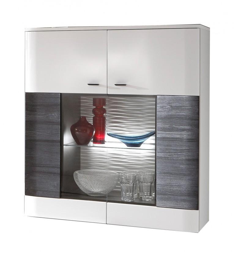 Zlevněné obývací pokoje Vitrína Denver - Typ 04 (bílá arctic LDTD / černá) - II. jakost
