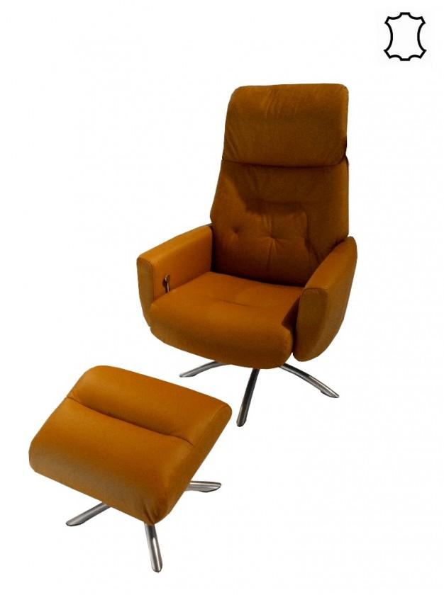 Zlevněné sedací soupravy Křeslo s taburetem Olivia (kůže) - II. jakost