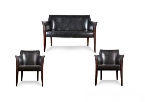 Zlevněné sedačky Sedací souprava 3+1+1 Bari (černá, III/ nohy - 4A) - II. jakost