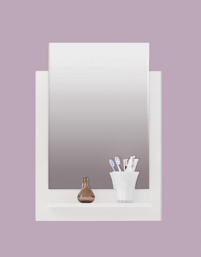 Zrcadlo do koupelny TTB - Zrcadlový panel s poličkou (bílá, zrcadlo)