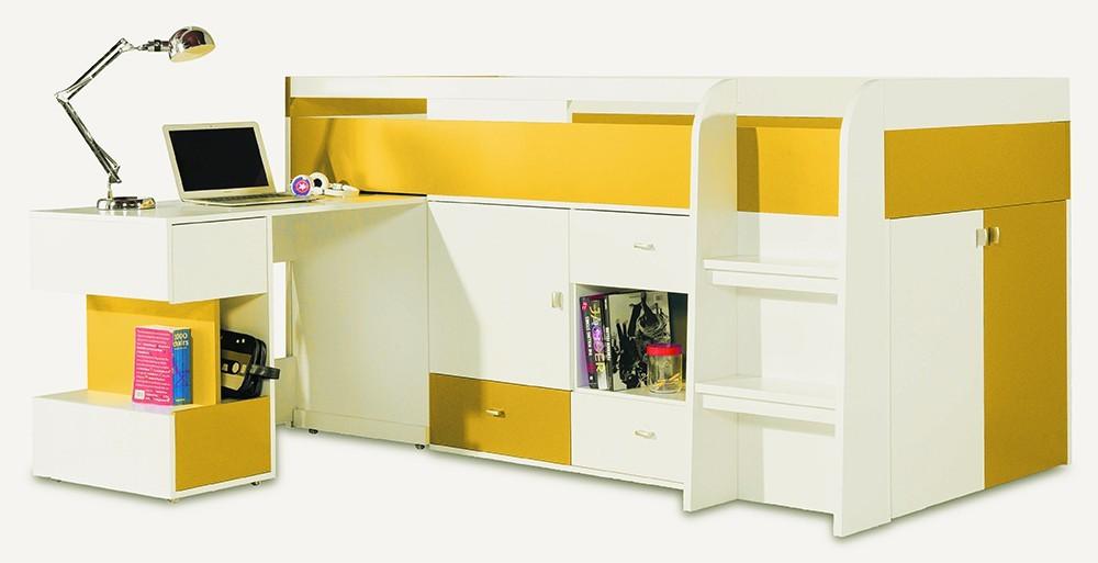 Zvýšená postel Mobi - Postel se stolem 205/105,5/115,5 (bílá lesk/žlutá)