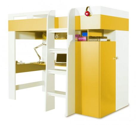 Zvýšená postel Mobi - Postel se stolem 205/165/117 (bílá lesk/žlutá)