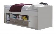Zvýšená postel Sunny, 90 x 200, vč. ÚP (bílá/dub)