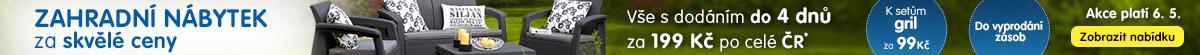 Zahradní nábytek za skvělé ceny + gril jen za 99 Kč!